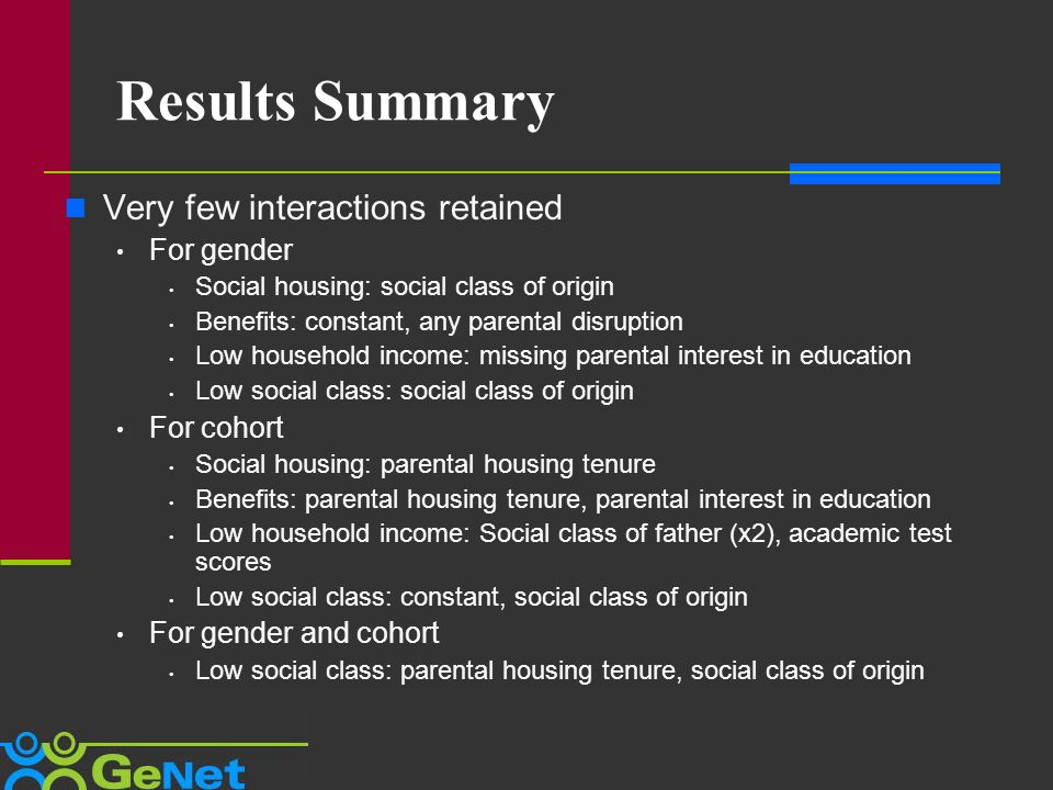 Results Summary Very few interactions retained For gender Social housing: social class of origin Benefits: constant, any parental disruption Low household income: missing parental interest in education Low social class: social class of origin For cohort Social housing: parental housing tenure Benefits: parental housing tenure, parental interest in education Low household income: Social class of father (x2), academic test scores Low social class: constant, social class of origin For gender and cohort Low social class: parental housing tenure, social class of origin