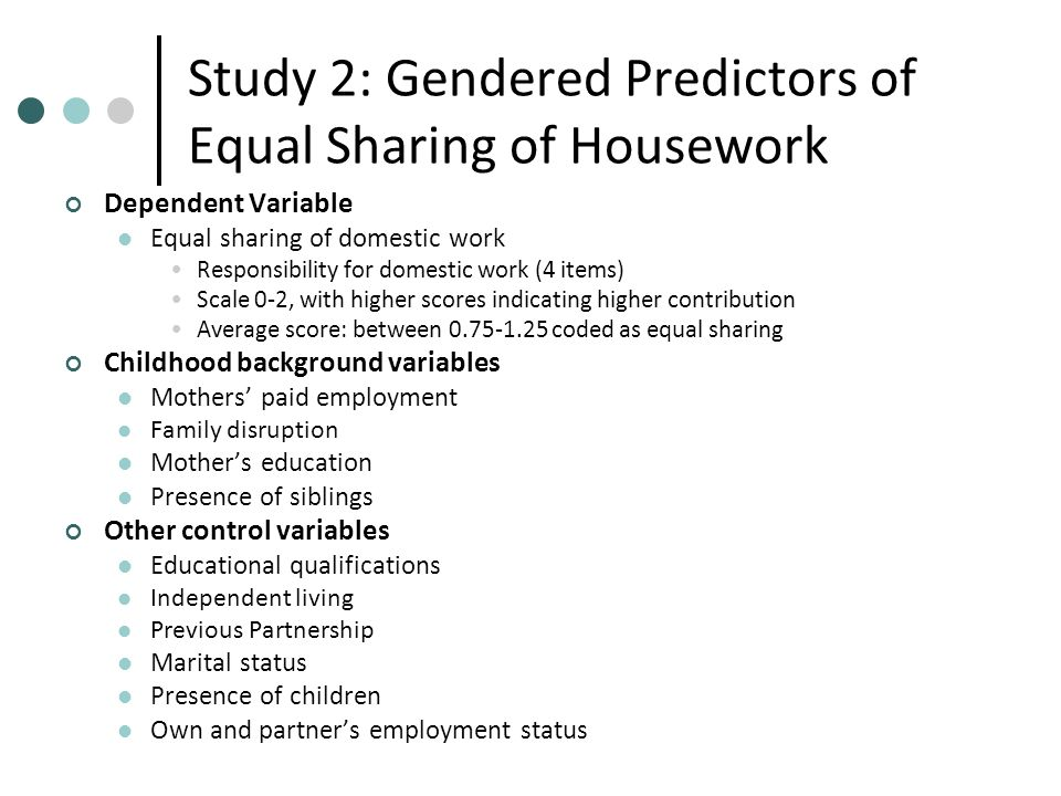 Study 2: Gendered Predictors of Equal Sharing of Housework Dependent Variable Equal sharing of domestic work Responsibility for domestic work (4 items