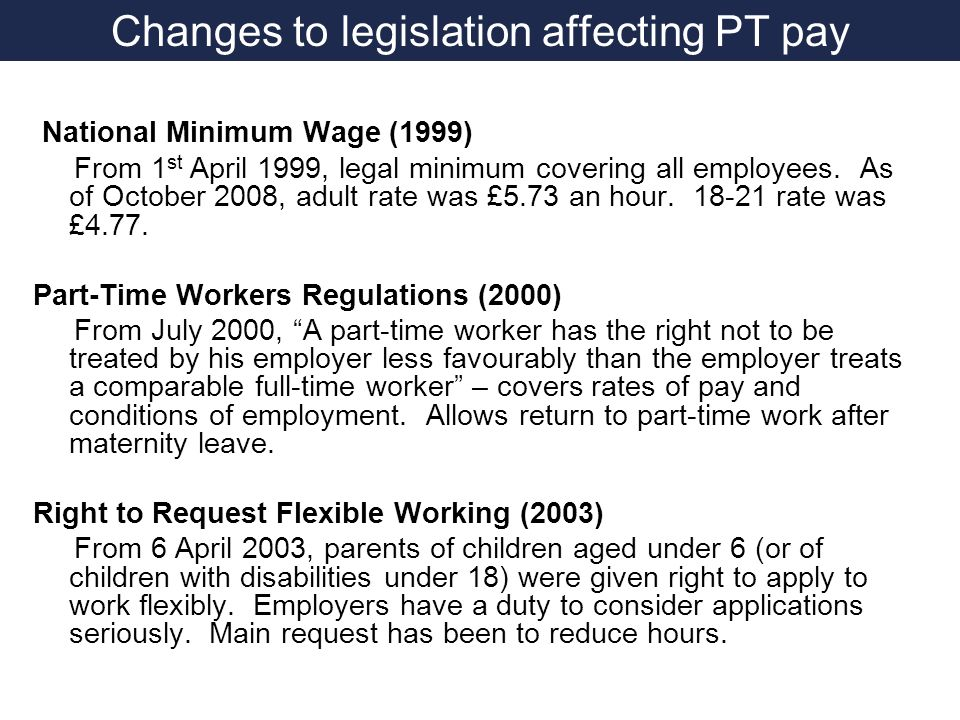 Changes to legislation affecting PT pay National Minimum Wage (1999) From 1 st April 1999, legal minimum covering all employees.