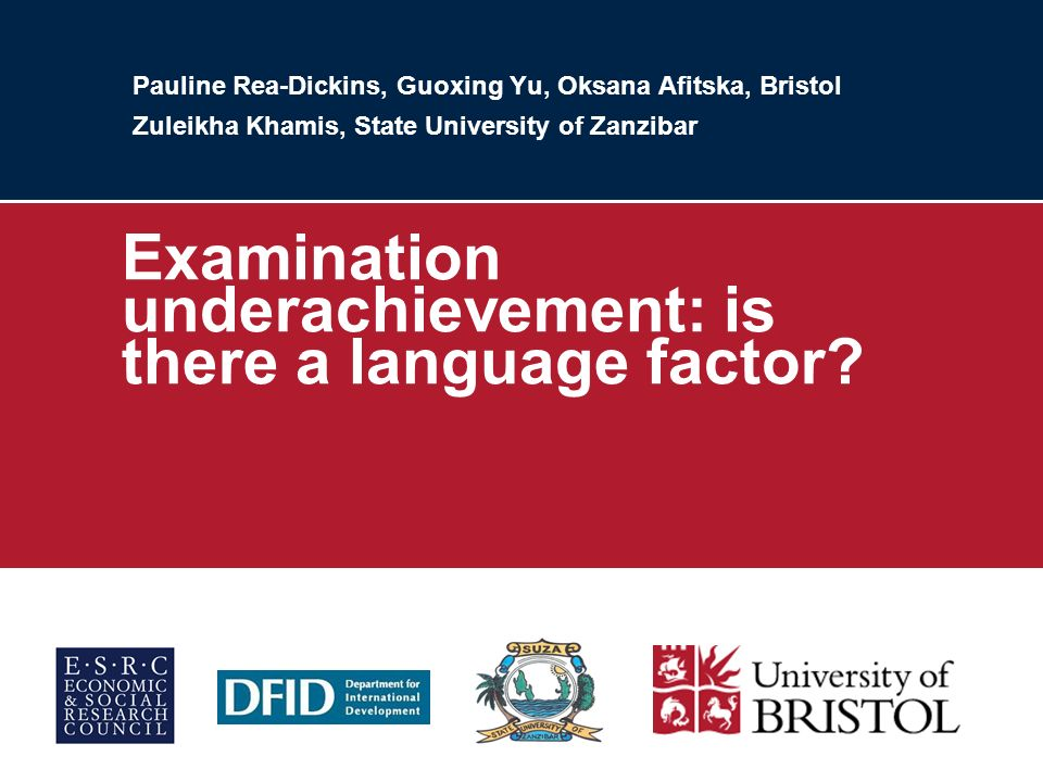 Pauline Rea-Dickins, Guoxing Yu, Oksana Afitska, Bristol Zuleikha Khamis, State University of Zanzibar Examination underachievement: is there a language factor