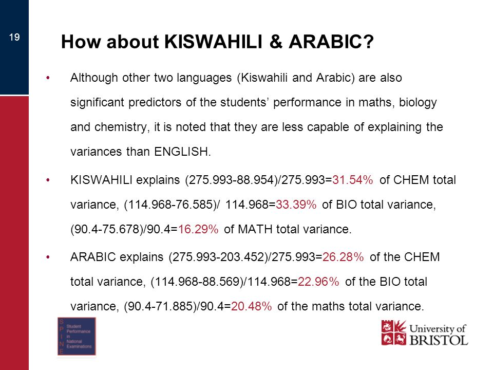 19 How about KISWAHILI & ARABIC.