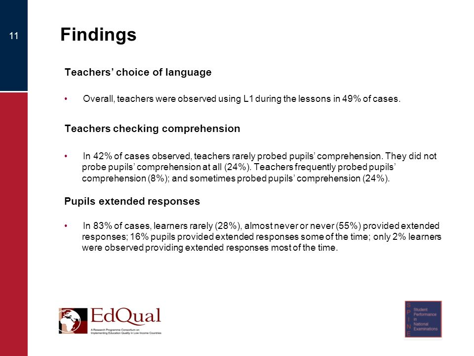 Findings Teachers choice of language Overall, teachers were observed using L1 during the lessons in 49% of cases.