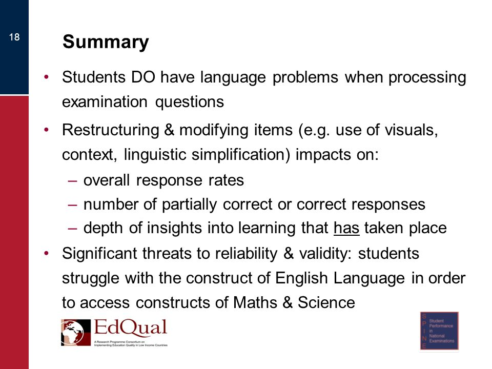 Summary Students DO have language problems when processing examination questions Restructuring & modifying items (e.g.