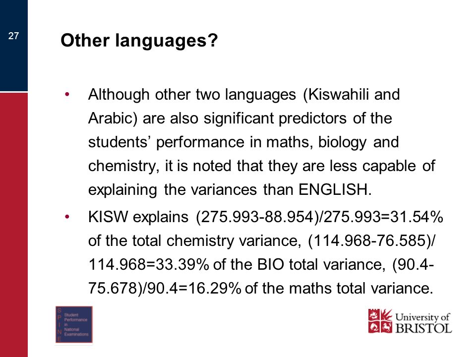 27 Other languages? Although other two languages (Kiswahili and Arabic) are also significant predictors of the students performance in maths, biology