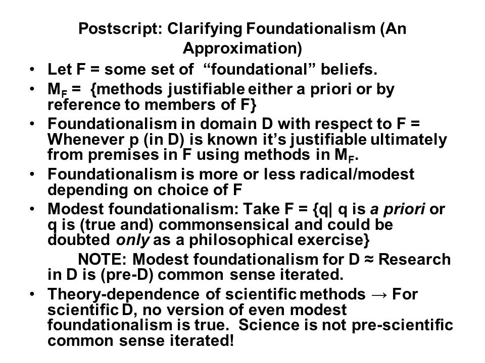 Postscript: Clarifying Foundationalism (An Approximation) Let F = some set of foundational beliefs.