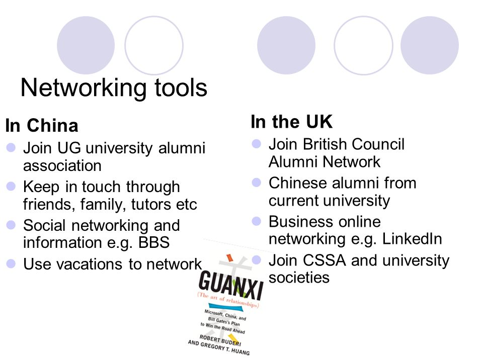 Networking tools In China Join UG university alumni association Keep in touch through friends, family, tutors etc Social networking and information e.g.