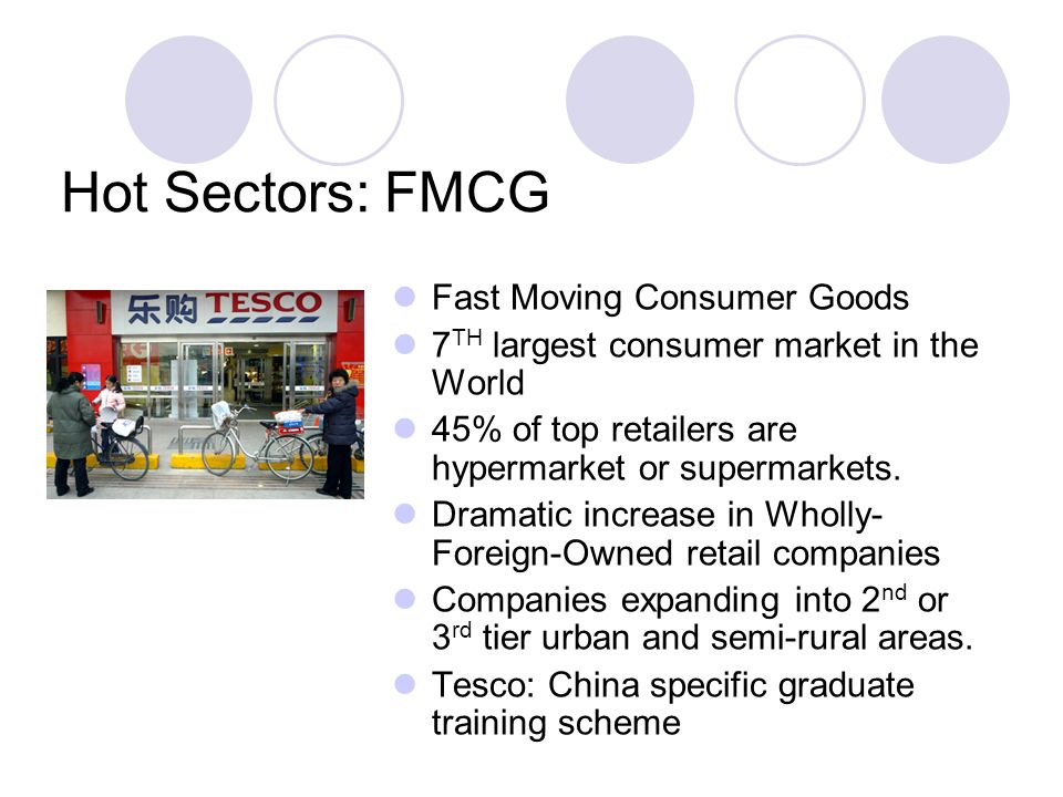 Hot Sectors: FMCG Fast Moving Consumer Goods 7 TH largest consumer market in the World 45% of top retailers are hypermarket or supermarkets.