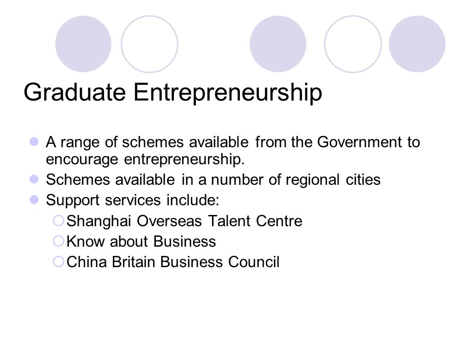 Graduate Entrepreneurship A range of schemes available from the Government to encourage entrepreneurship. Schemes available in a number of regional ci