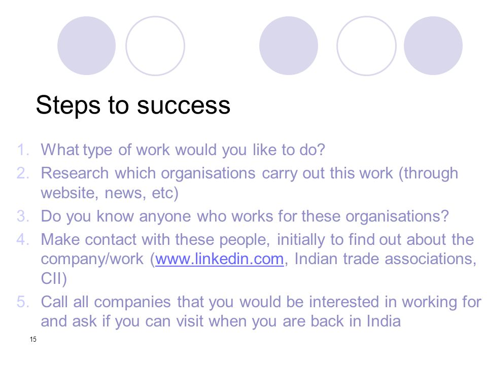 15 Steps to success 1.What type of work would you like to do.