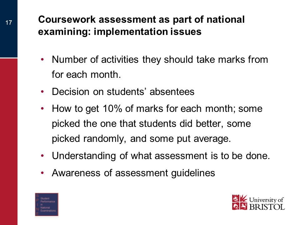 17 Coursework assessment as part of national examining: implementation issues Number of activities they should take marks from for each month.