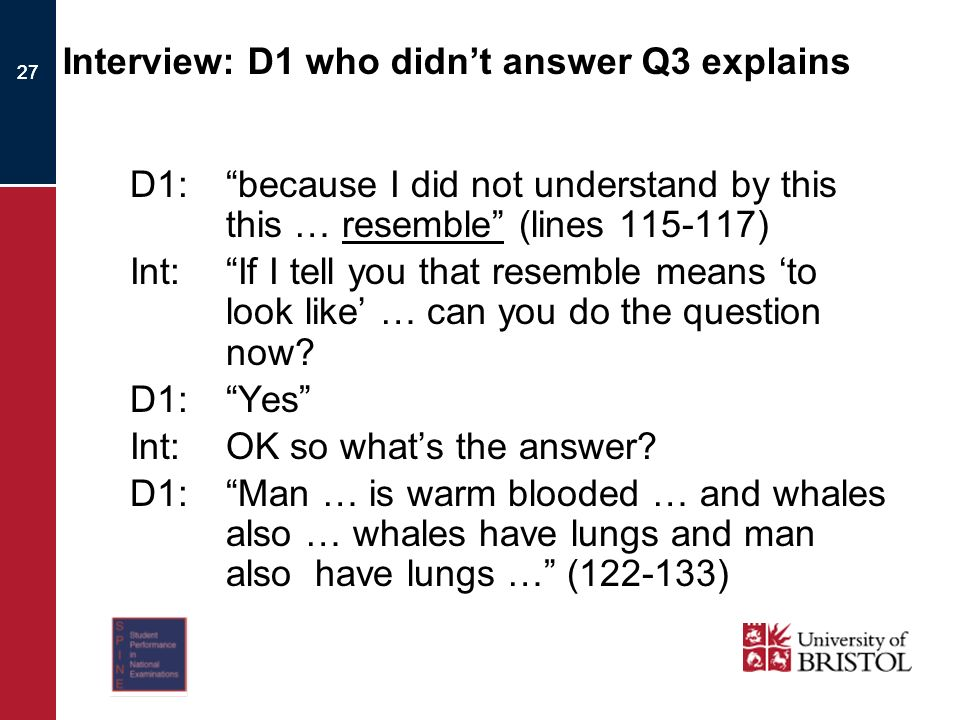 27 Interview: D1 who didnt answer Q3 explains D1:because I did not understand by this this … resemble (lines 115-117) Int:If I tell you that resemble means to look like … can you do the question now.