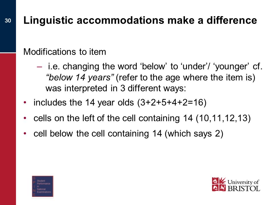 30 Linguistic accommodations make a difference Modifications to item – i.e.