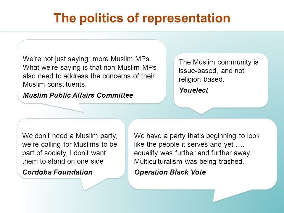 The politics of representation We dont need a Muslim party, were calling for Muslims to be part of society, I dont want them to stand on one side Cordoba Foundation We dont need a Muslim party, were calling for Muslims to be part of society, I dont want them to stand on one side Cordoba Foundation The Muslim community is issue-based, and not religion based.