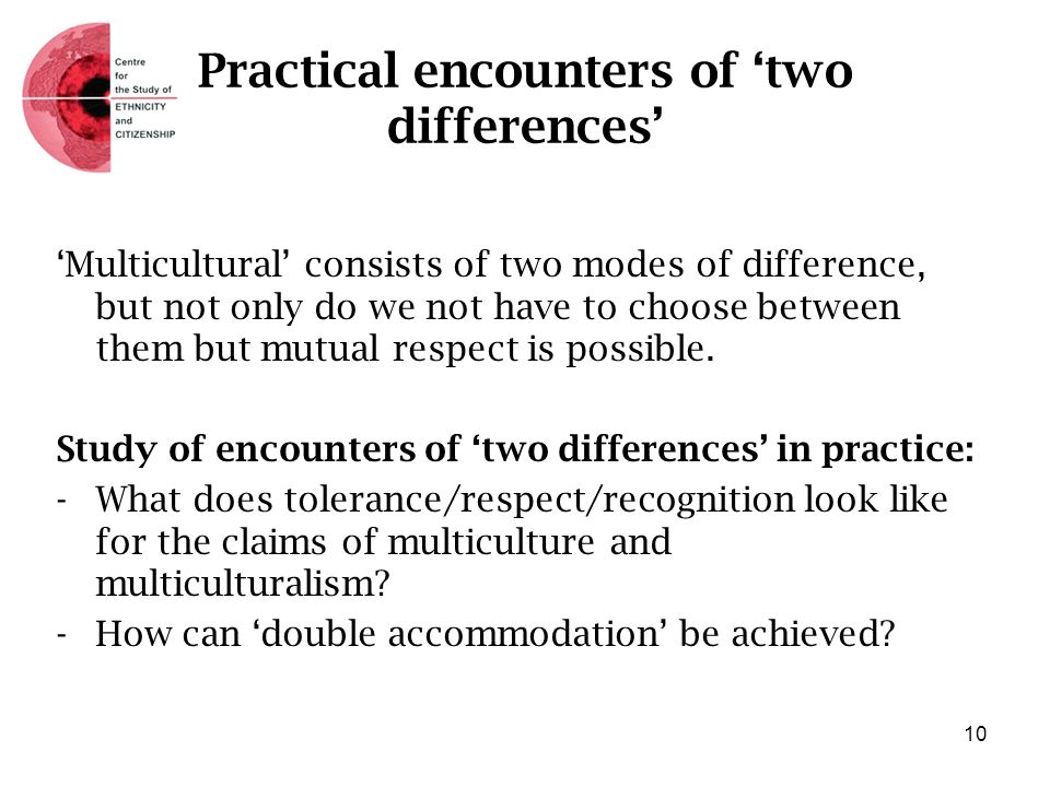 Practical encounters of two differences Multicultural consists of two modes of difference, but not only do we not have to choose between them but mutu