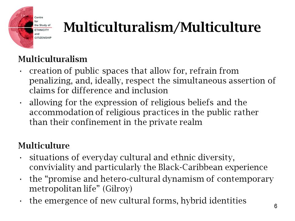 Multiculturalism/Multiculture Multiculturalism creation of public spaces that allow for, refrain from penalizing, and, ideally, respect the simultaneo