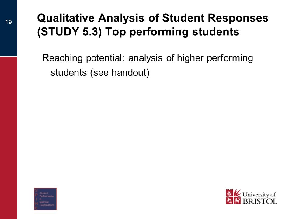 Qualitative Analysis of Student Responses (STUDY 5.3) Top performing students Reaching potential: analysis of higher performing students (see handout) 19