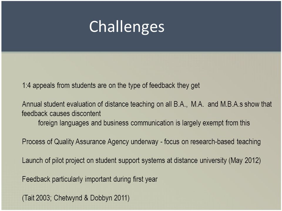Challenges 1:4 appeals from students are on the type of feedback they get Annual student evaluation of distance teaching on all B.A., M.A. and M.B.A.s