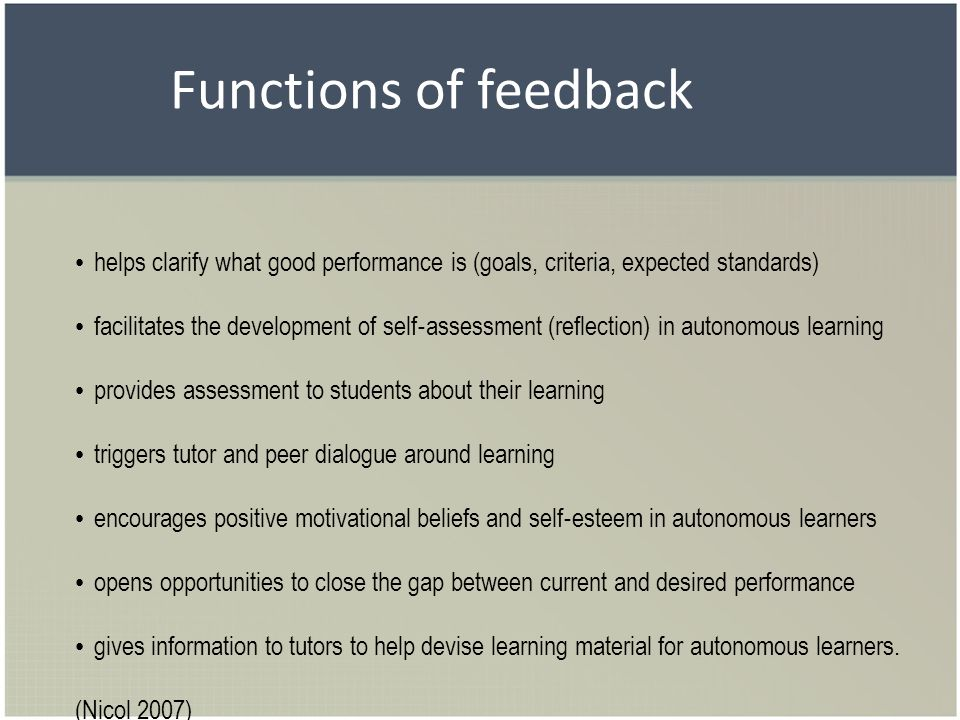 Functions of feedback helps clarify what good performance is (goals, criteria, expected standards) facilitates the development of self assessment (ref