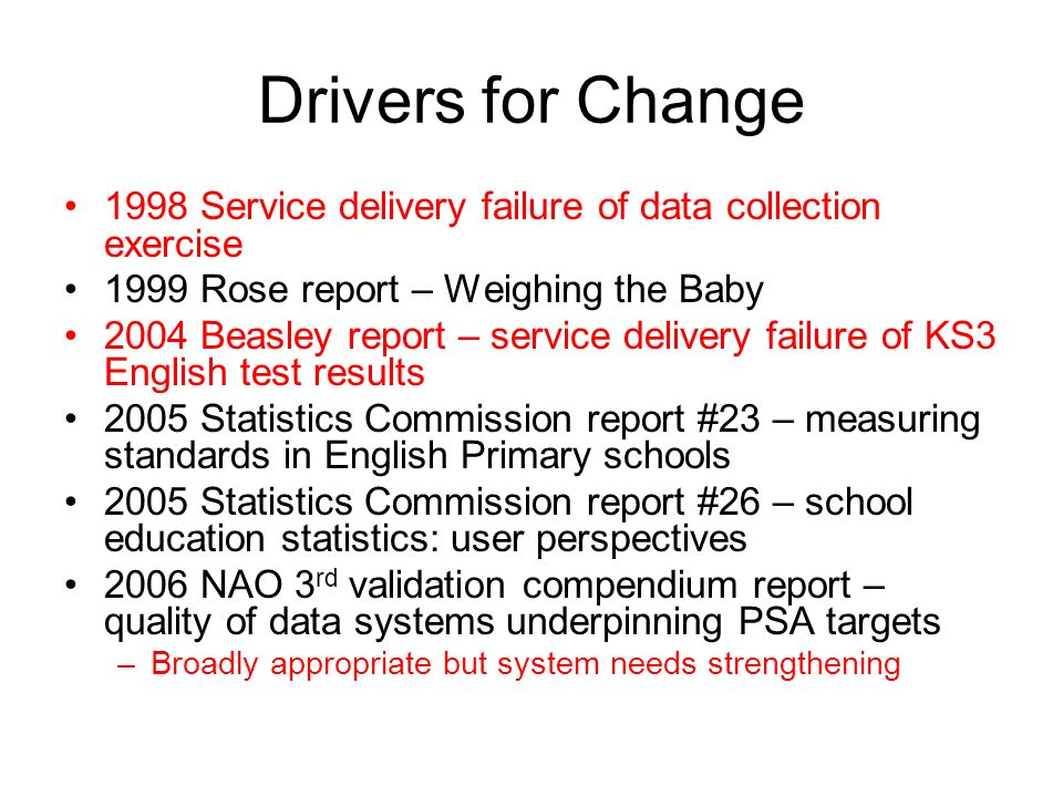 Drivers for Change 1998 Service delivery failure of data collection exercise 1999 Rose report – Weighing the Baby 2004 Beasley report – service delivery failure of KS3 English test results 2005 Statistics Commission report #23 – measuring standards in English Primary schools 2005 Statistics Commission report #26 – school education statistics: user perspectives 2006 NAO 3 rd validation compendium report – quality of data systems underpinning PSA targets –Broadly appropriate but system needs strengthening