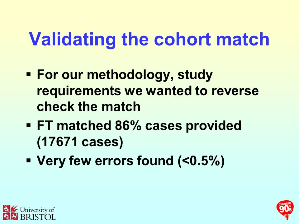 Validating the cohort match For our methodology, study requirements we wanted to reverse check the match FT matched 86% cases provided (17671 cases) Very few errors found (<0.5%)