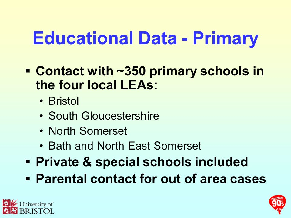 Educational Data - Primary Contact with ~350 primary schools in the four local LEAs: Bristol South Gloucestershire North Somerset Bath and North East Somerset Private & special schools included Parental contact for out of area cases