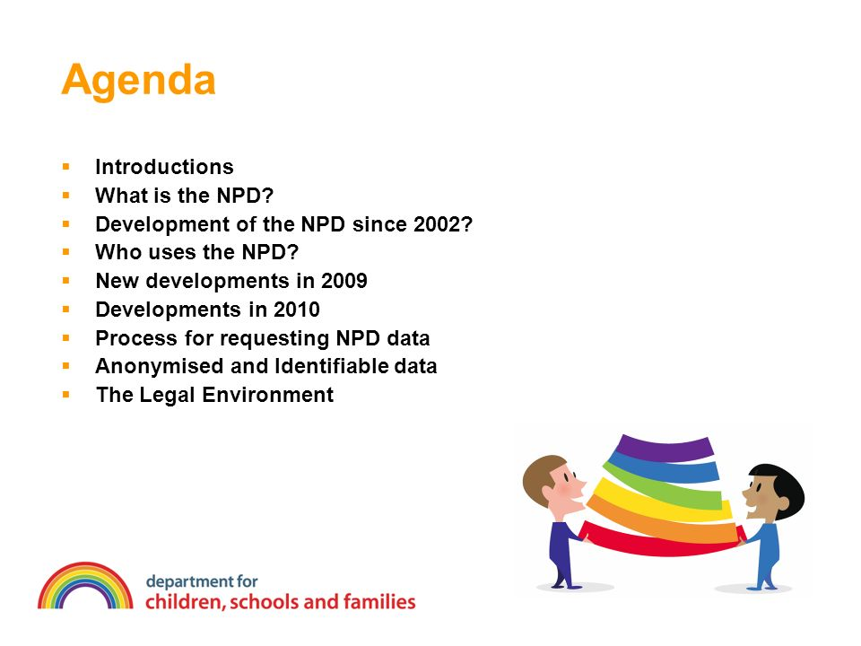 Agenda Introductions What is the NPD. Development of the NPD since 2002.