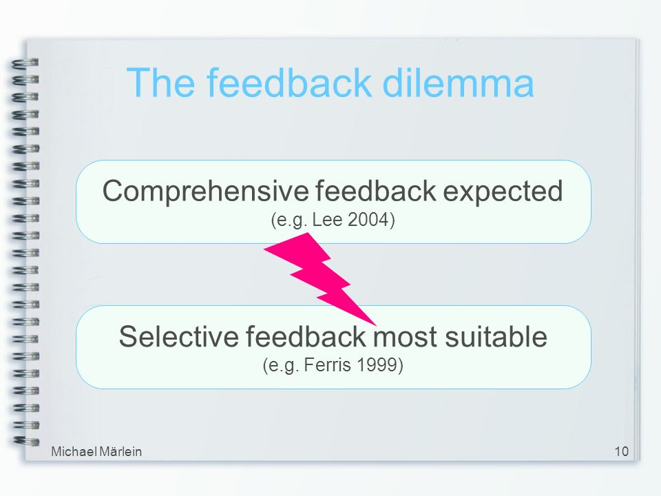 Michael Märlein10 The feedback dilemma Comprehensive feedback expected (e.g. Lee 2004) Selective feedback most suitable (e.g. Ferris 1999)