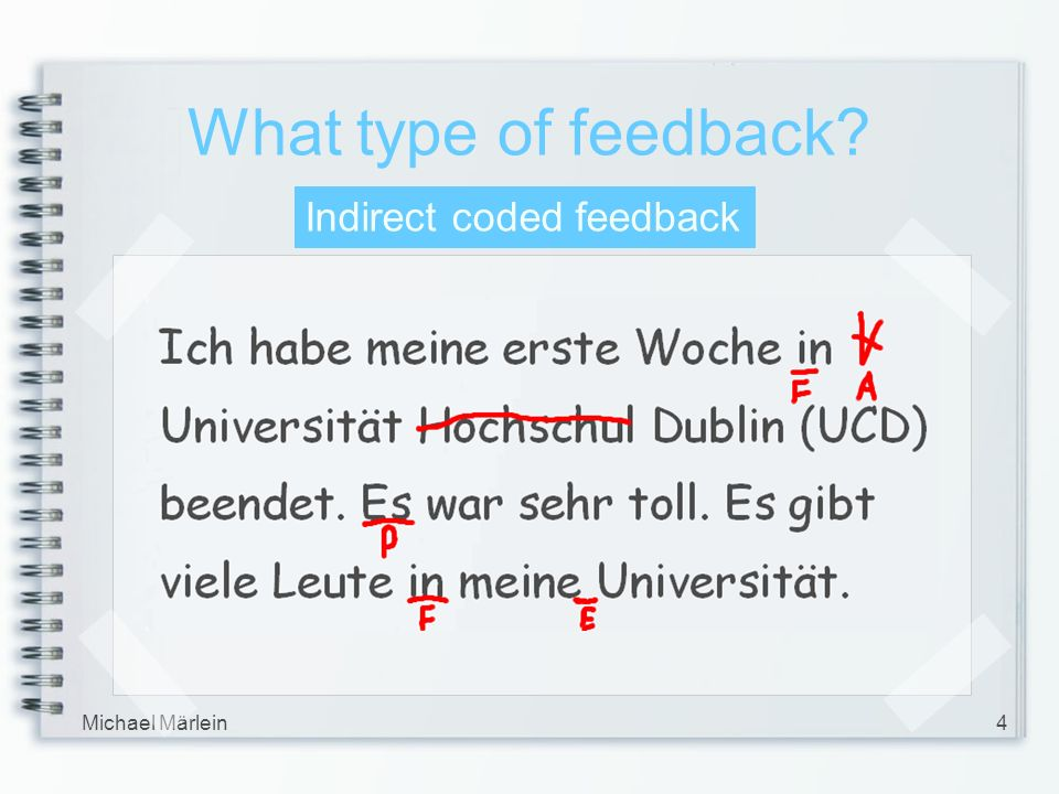 Michael Märlein4 What type of feedback? Indirect coded feedback