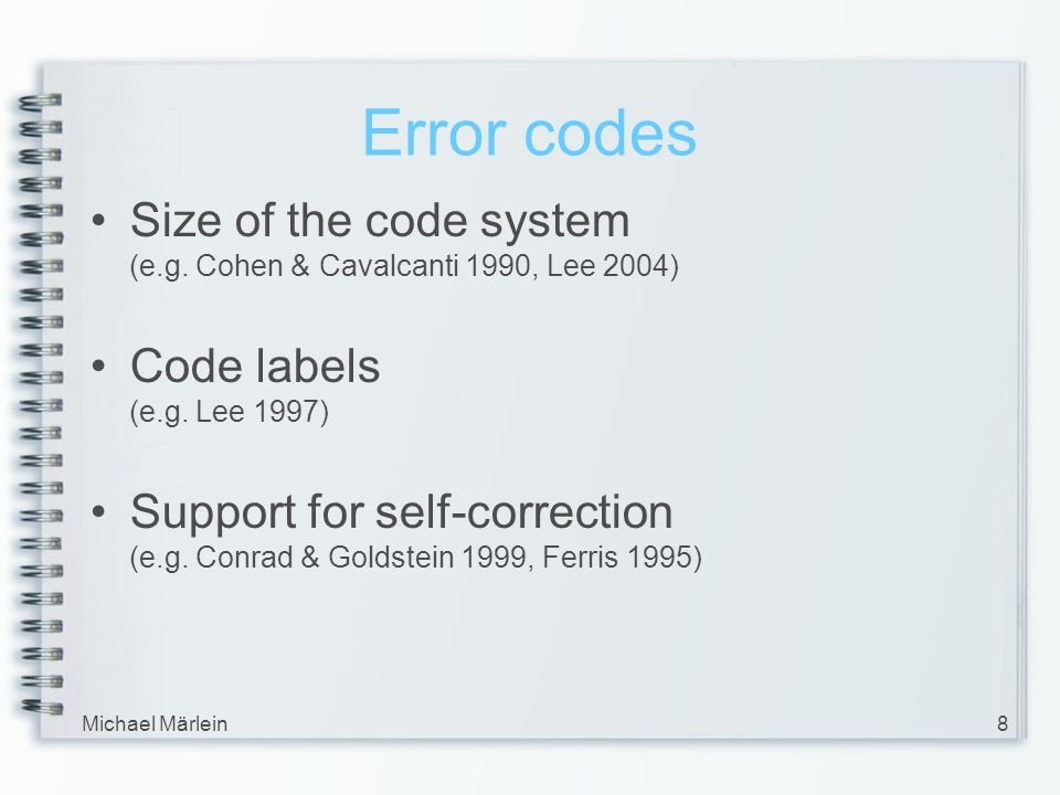 Michael Märlein8 Error codes Size of the code system (e.g.