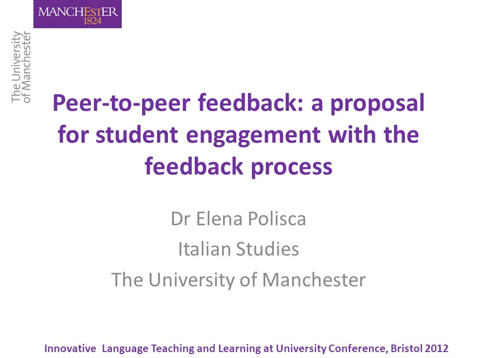 Overview The e-FEP project Peer-to-peer feedback: where, when, and how Examples of peer-to-peer feedback Evaluation questionnaires: first findings Conclusions