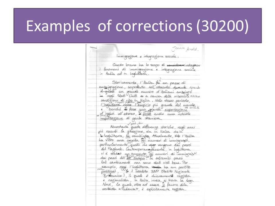 Examples of corrections (30200)
