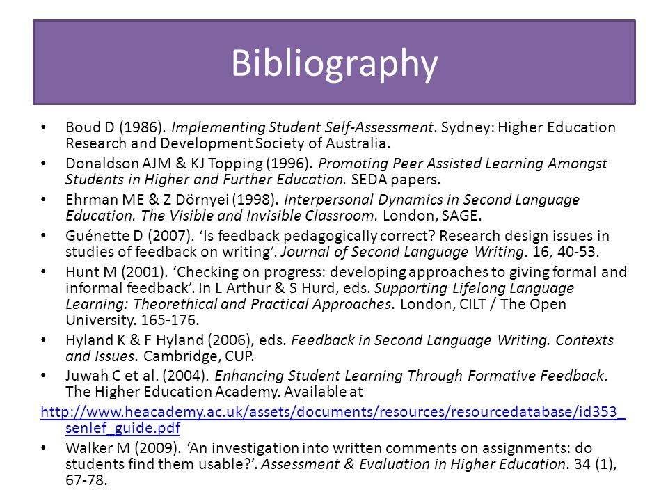 Bibliography Boud D (1986). Implementing Student Self-Assessment.