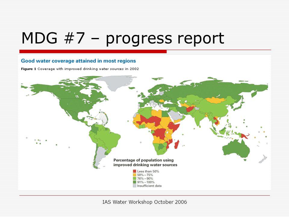 IAS Water Workshop October 2006 MDG #7 – progress report