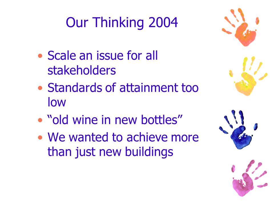 Our Thinking 2004 Scale an issue for all stakeholders Standards of attainment too low old wine in new bottles We wanted to achieve more than just new
