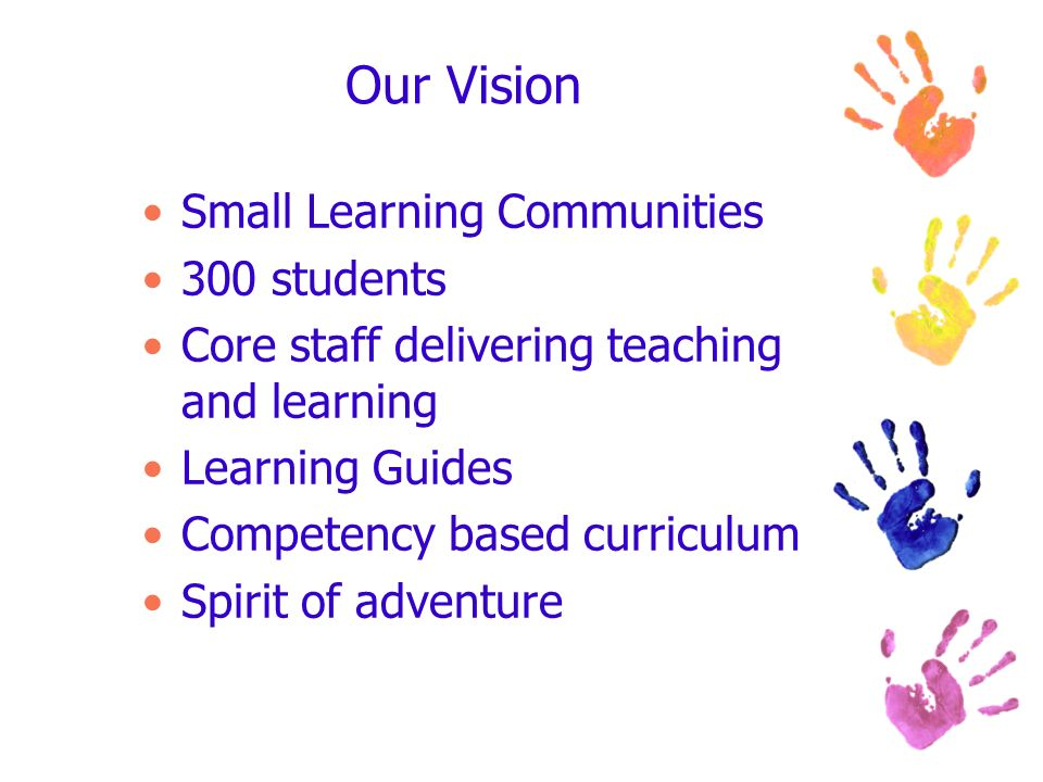 Our Vision Small Learning Communities 300 students Core staff delivering teaching and learning Learning Guides Competency based curriculum Spirit of a