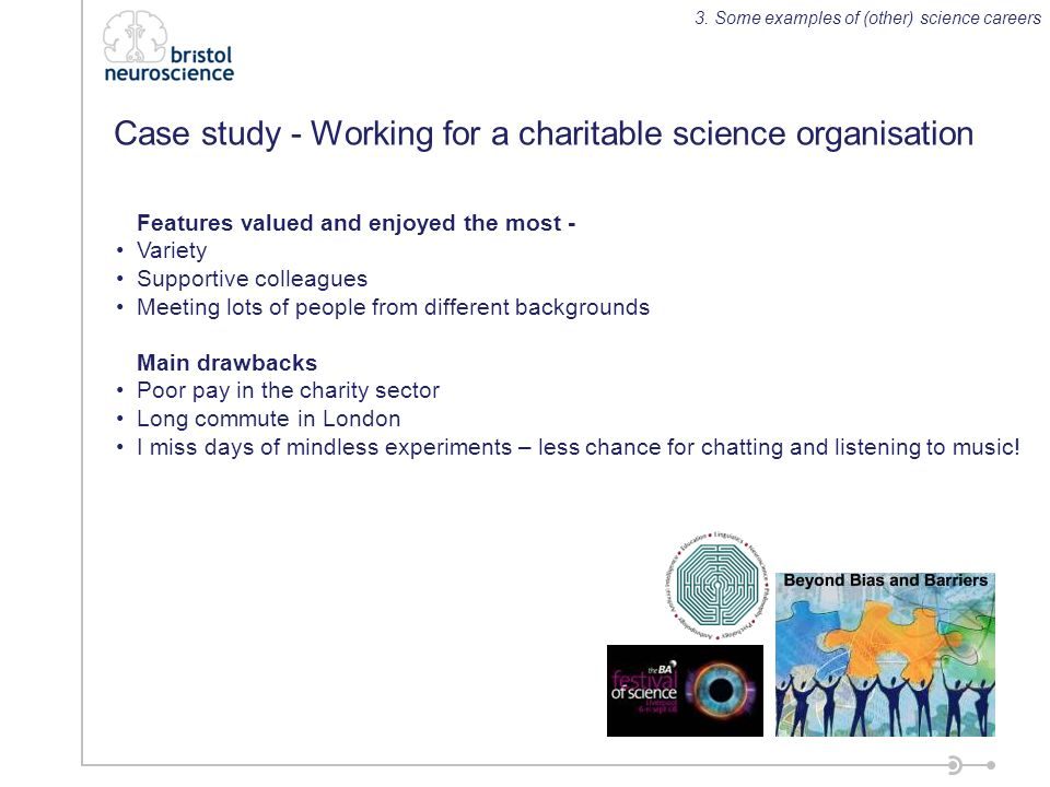 Case study - Working for a charitable science organisation Features valued and enjoyed the most - Variety Supportive colleagues Meeting lots of people from different backgrounds Main drawbacks Poor pay in the charity sector Long commute in London I miss days of mindless experiments – less chance for chatting and listening to music.