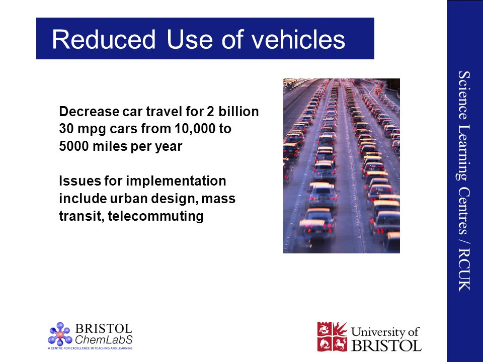 Science Learning Centres / RCUK Reduced Use of vehicles Decrease car travel for 2 billion 30 mpg cars from 10,000 to 5000 miles per year Issues for implementation include urban design, mass transit, telecommuting