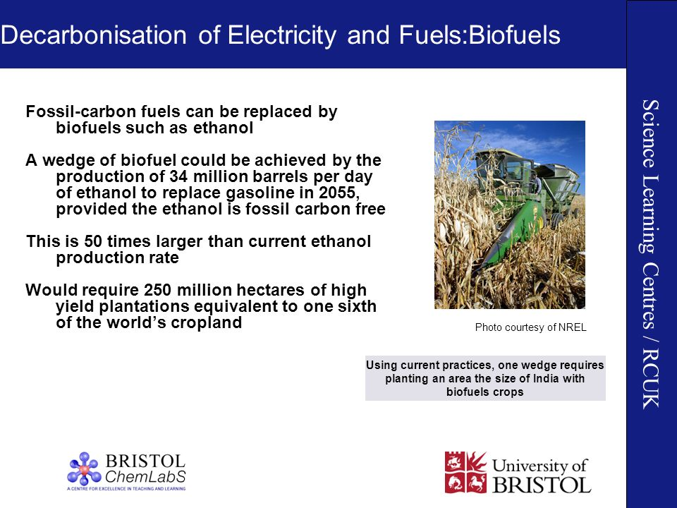 Science Learning Centres / RCUK Decarbonisation of Electricity and Fuels:Biofuels Fossil-carbon fuels can be replaced by biofuels such as ethanol A wedge of biofuel could be achieved by the production of 34 million barrels per day of ethanol to replace gasoline in 2055, provided the ethanol is fossil carbon free This is 50 times larger than current ethanol production rate Would require 250 million hectares of high yield plantations equivalent to one sixth of the worlds cropland Photo courtesy of NREL Using current practices, one wedge requires planting an area the size of India with biofuels crops