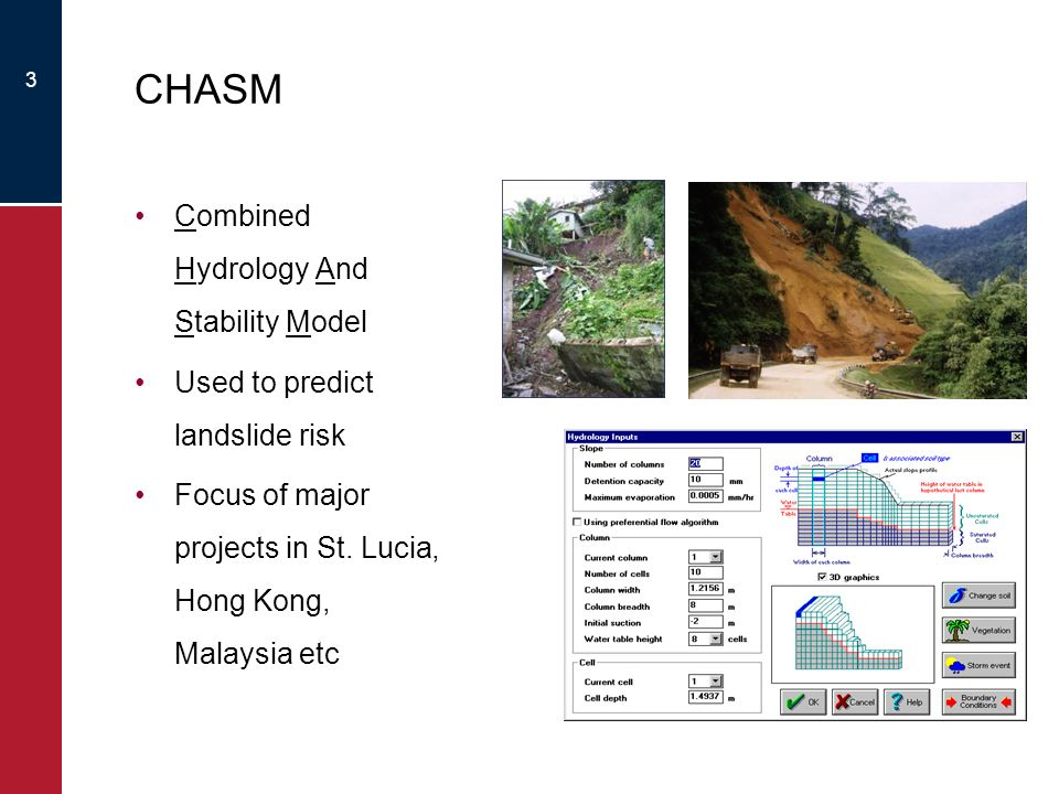 3 CHASM Combined Hydrology And Stability Model Used to predict landslide risk Focus of major projects in St.