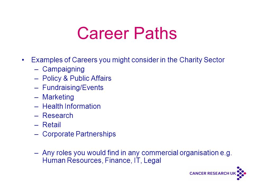 Career Paths Examples of Careers you might consider in the Charity Sector –Campaigning –Policy & Public Affairs –Fundraising/Events –Marketing –Health Information –Research –Retail –Corporate Partnerships –Any roles you would find in any commercial organisation e.g.