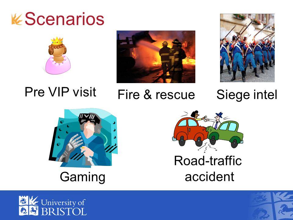 Scenarios Road-traffic accident Siege intel Gaming Fire & rescue Pre VIP visit