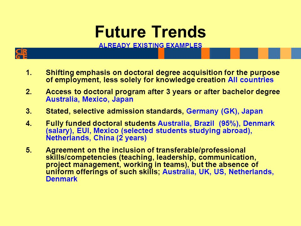 Future Trends ALREADY EXISTING EXAMPLES 1.Shifting emphasis on doctoral degree acquisition for the purpose of employment, less solely for knowledge creation All countries 2.Access to doctoral program after 3 years or after bachelor degree Australia, Mexico, Japan 3.Stated, selective admission standards, Germany (GK), Japan 4.Fully funded doctoral students Australia, Brazil (95%), Denmark (salary), EUI, Mexico (selected students studying abroad), Netherlands, China (2 years) 5.Agreement on the inclusion of transferable/professional skills/competencies (teaching, leadership, communication, project management, working in teams), but the absence of uniform offerings of such skills; Australia, UK, US, Netherlands, Denmark