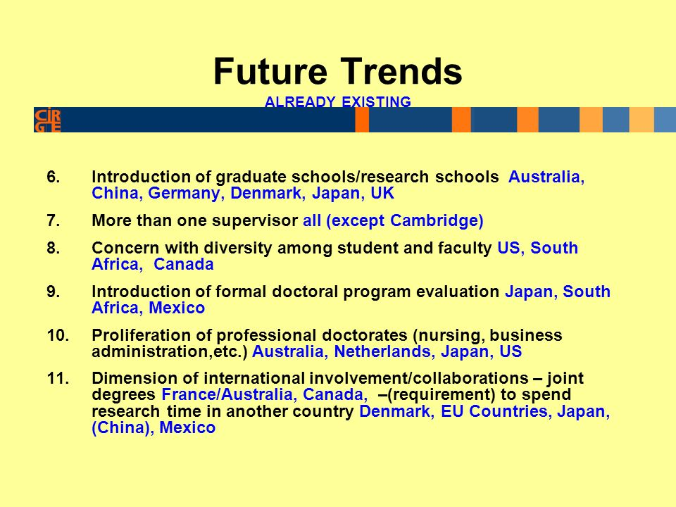 Future Trends 12.Data collection efforts on doctoral education – time-to-degree, attrition, employment, EU countries- OECD, Canada, Australia, Japan, US 13.