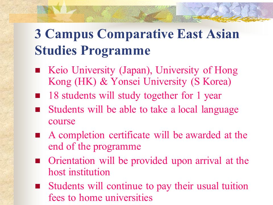 3 Campus Comparative East Asian Studies Programme Keio University (Japan), University of Hong Kong (HK) & Yonsei University (S Korea) 18 students will study together for 1 year Students will be able to take a local language course A completion certificate will be awarded at the end of the programme Orientation will be provided upon arrival at the host institution Students will continue to pay their usual tuition fees to home universities