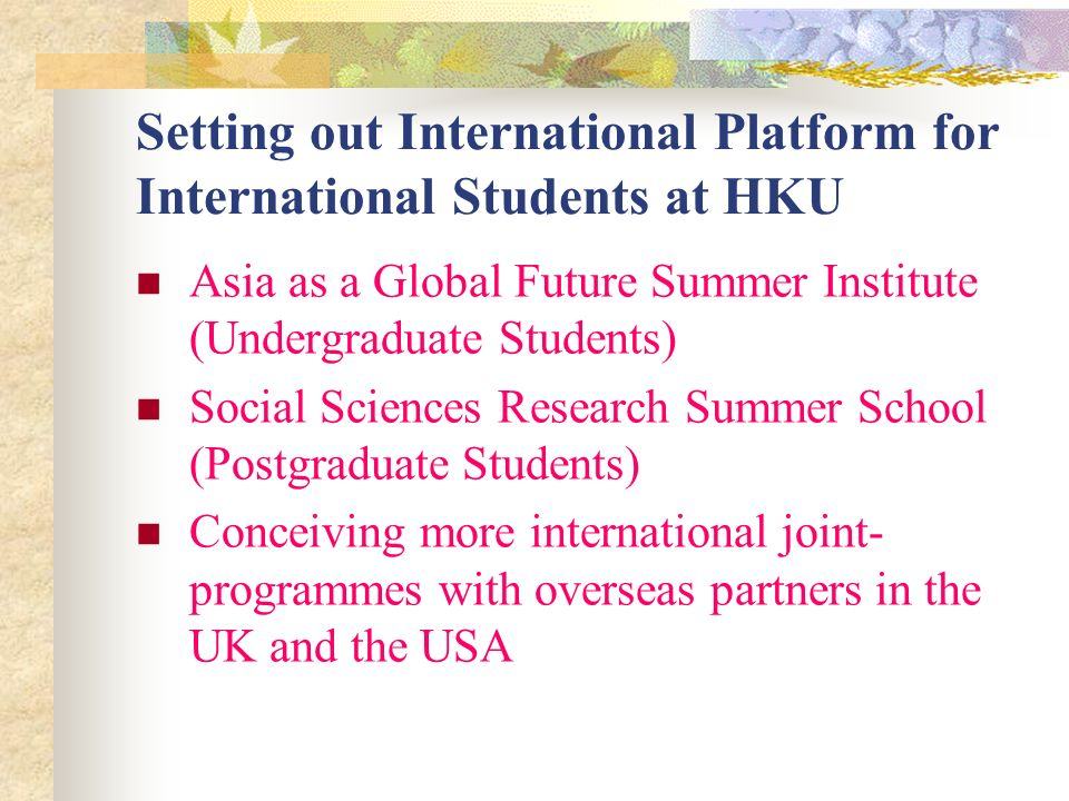 Setting out International Platform for International Students at HKU Asia as a Global Future Summer Institute (Undergraduate Students) Social Sciences Research Summer School (Postgraduate Students) Conceiving more international joint- programmes with overseas partners in the UK and the USA