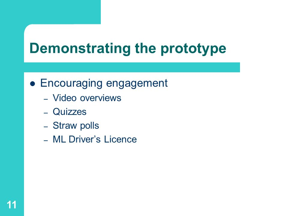 11 Demonstrating the prototype Encouraging engagement – Video overviews – Quizzes – Straw polls – ML Drivers Licence