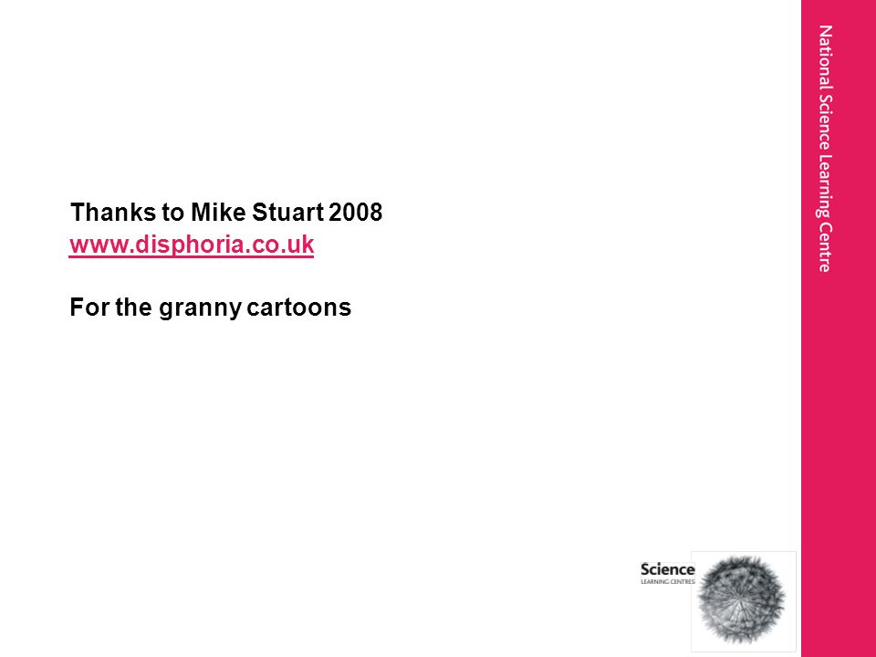 Thanks to Mike Stuart 2008 www.disphoria.co.uk For the granny cartoons