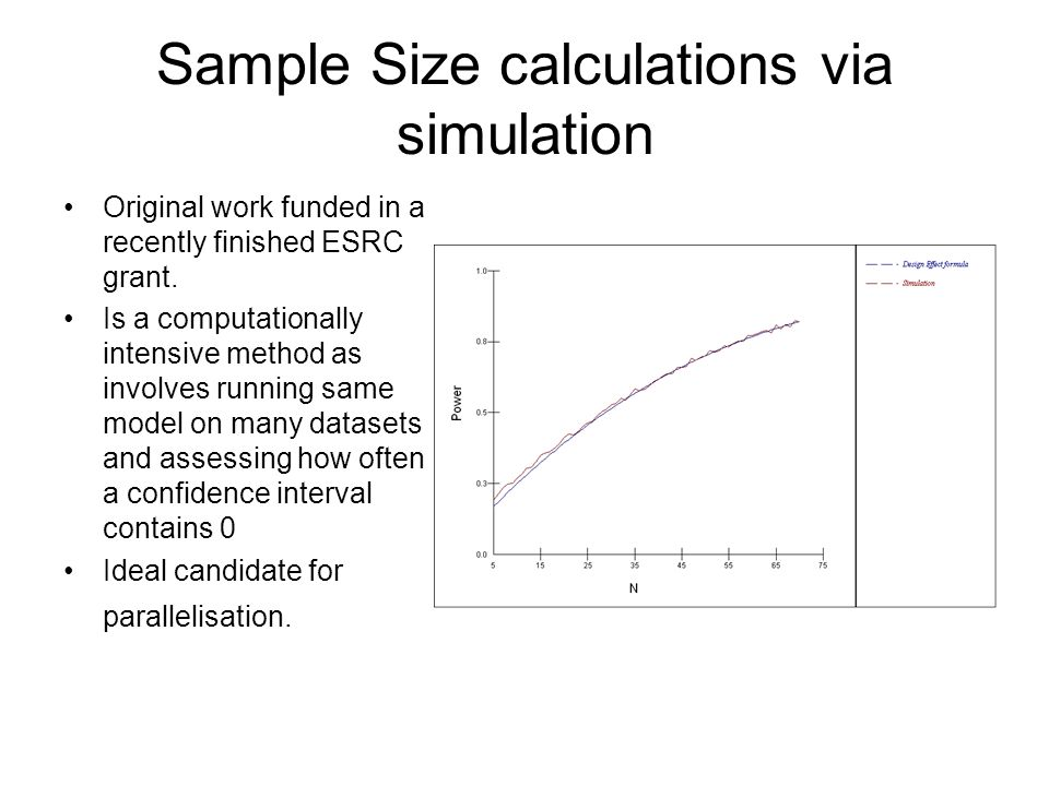 Sample Size calculations via simulation Original work funded in a recently finished ESRC grant. Is a computationally intensive method as involves runn
