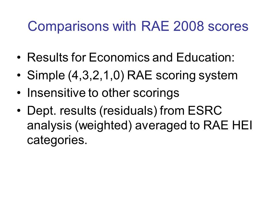 Comparisons with RAE 2008 scores Results for Economics and Education: Simple (4,3,2,1,0) RAE scoring system Insensitive to other scorings Dept.