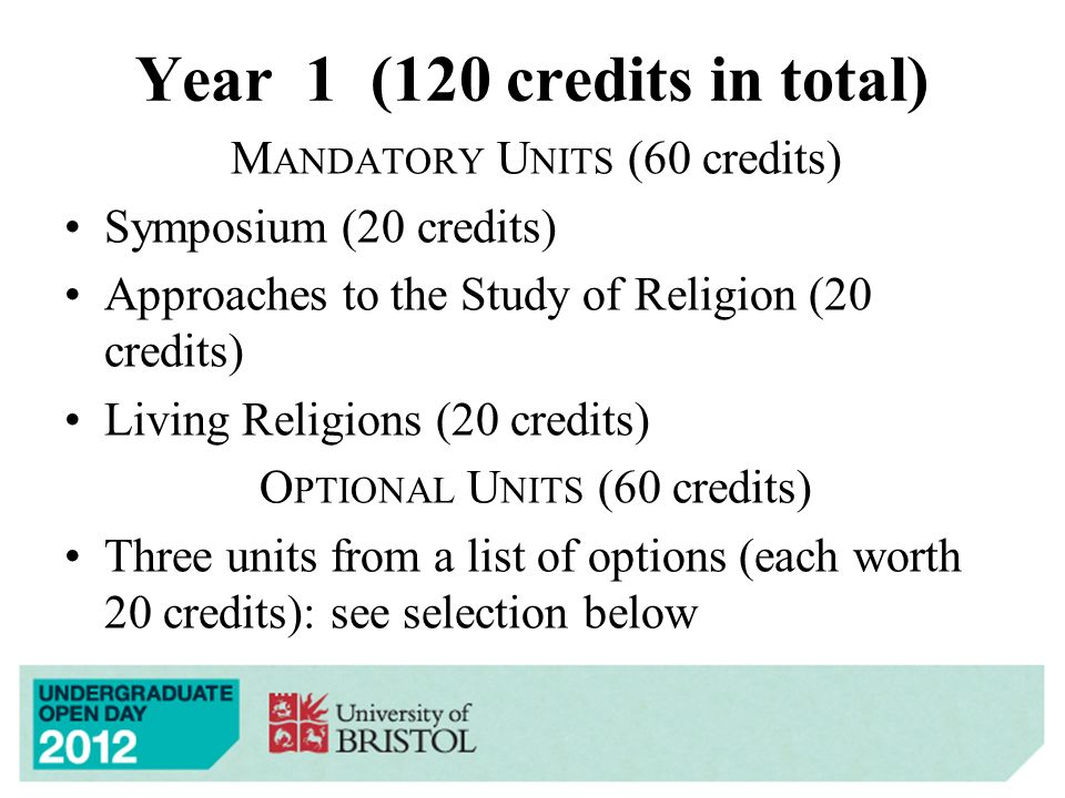 Year 1 (120 credits in total) M ANDATORY U NITS (60 credits) Symposium (20 credits) Approaches to the Study of Religion (20 credits) Living Religions (20 credits) O PTIONAL U NITS (60 credits) Three units from a list of options (each worth 20 credits): see selection below